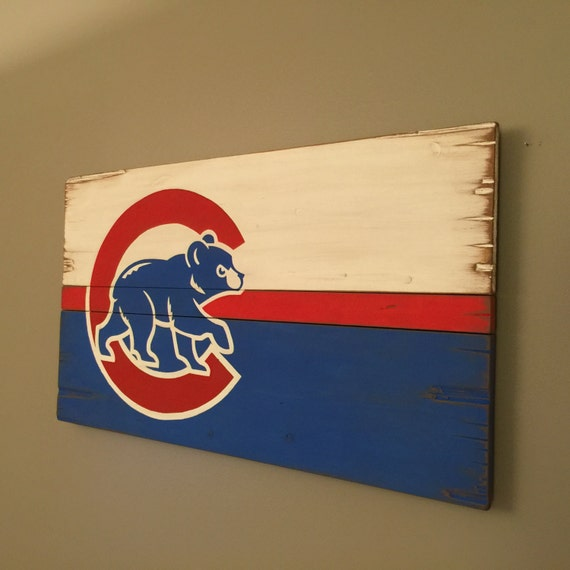 Chicago Cubs Rustic Wooden Flag