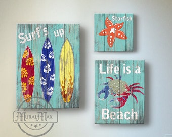 Surf Kids Room Decor - Beach Wall Art, Vintage Kids Beach Decor, Three Piece Canvas Art , Boys Room Surf Decor , Beach Kids art