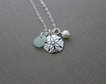 Large Sterling Silver Sand Dollar Necklace with Genuine Sea Glass and Freshwater pearl Personalized - Ocean Beach Jewelry - Custom