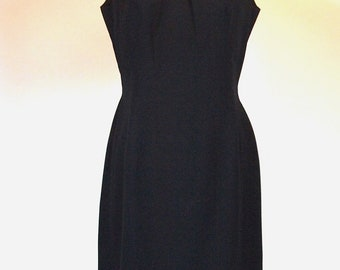 Vintage 60s little black dress sleeveless with round collar with black sequins and cut out back cocktail // holiday // evening