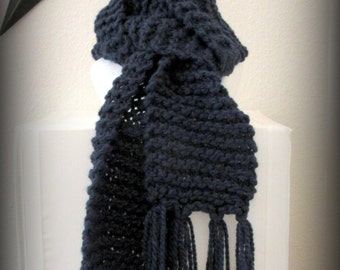 scarf - knit scarf - hand knit scarf - hand made scarf - blue scarf - blue knit scarf - blue hand knit scarf - acrylic scarf - navy blue