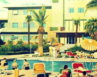 Mid Century Modern Art Hotel Print Hotel Flamingo photograph vintage Las Vegas art mcm Swimming Pool Art  Retro Hotel Art Hotel Decor Art
