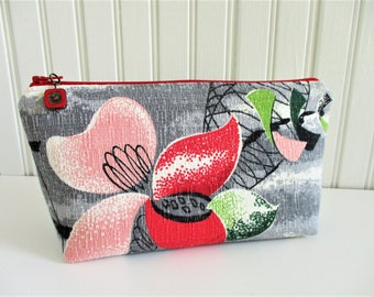 Pink Red Flower Atomic Floral on Gray Ground Vintage Barkcloth Fabric Zippered Make Up Travel Bag