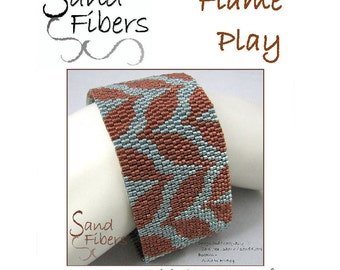 Peyote Pattern - Flame Play Peyote Cuff / Bracelet  - A Sand Fibers For Personal/Commercial Use PDF Pattern