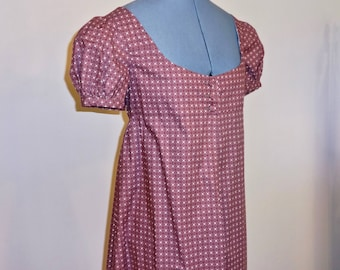"""Readymade Regency Button Front Gown, Purple with Crosses & Dots, 33"""" Bust"""