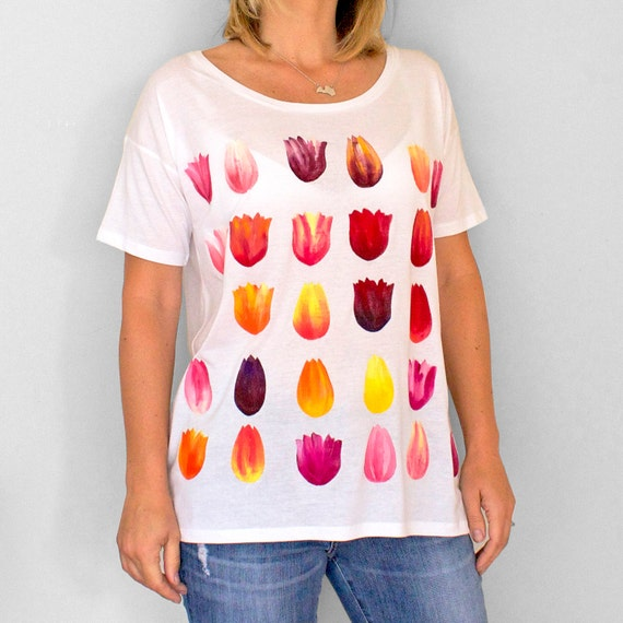TULIP top. Ladies loose fit t-shirt. Women's organic cotton and tencel open neck t-shirt.