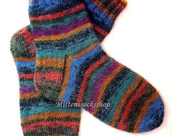 Hand Knitted Rainbow Socks Warm Socks from Rainbow Sock Yarn with Kid Mohair Sleeping Socks Mohair Socks Women's Socks Striped Girl's Socks