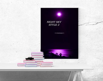 Colourful Wall Art ~ Original Photo, Photography Prints, Professional, Gifts, Presents ~ Moonlit Sea ~ Ready to hang Images ~ Violet Sea