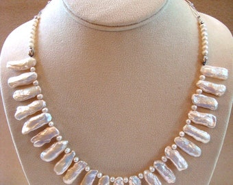 All Freshwater Stick Pearls Bib Necklace