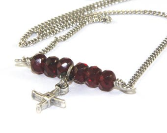 Saint Brigid Cross Necklace, Garnet Gemstone & Stainless Steel Chain