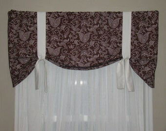 Window Valance, Tie Up Valance, Chocolate Brown and White Valance, Floral Valance, Leaf Valance