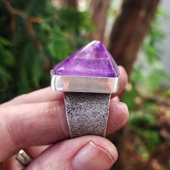 Geometric Amethyst Silver Statement Ring, Handmade Sterling Purple Amethyst Ring