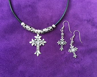 Women's Black Leather Cord Neclace with Cross and Matching Earrings