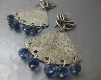 Sterling Silver Triangle Earrings with Kyanite Dangles