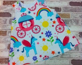 Rainbow and unicorn baby & girls pinafore dress custom made 0-10 years