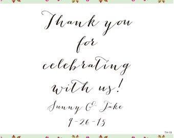 Custom Wedding Calligrapy Stamp  - Thank You For Celebrating With Us personalized rubber stamp -Custom logo stamp- custom Rubber Stamp