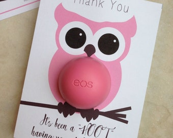 Owl themed baby shower EOS lip balm party favor, pink, brown, instant download, thank you, it's been a hoot having you at the shower, girl