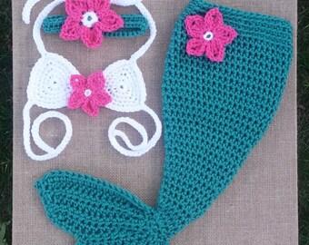 HANDMADE CROCHET MERMAID tail outfit, newborn mermaid set photo prop baby teal and pink mermaid tail, baby mermaid costume,mermaid outfit