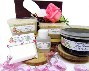 Sugaring Hair Removal Set, Oatmeal Scrub, Pink Rose Sugar Scrub - thicker hair, Body Sugaring, natural sugaring, natural sugar scrub