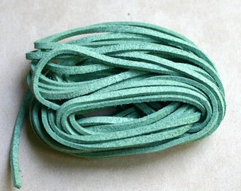 Green Faux Suede Cord Lace 3x1mm 5 Yards Vegan Leather 3mm