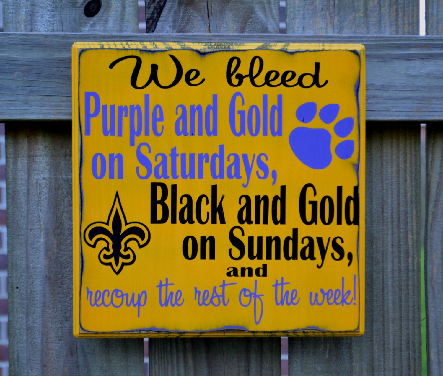 LSU Tigers New Orleans Saints FOOTBALL Custom wood sign