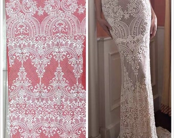 Fashion lace fabric tulle bridal lace fabric elegent wedding lace fabric high quality guipure lace fabric