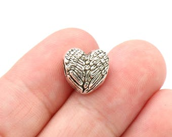 4 Pcs Heart Wing Angel Beads Large Hole Beads Spacer Beads - B16