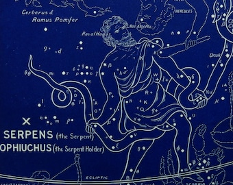 "1928.Astronomy.Antique print.Astrology.Zodiac""The witness of the stars"".SERPENS & OPHIUCHUS.Constellations.Astronomy print.5.8x9 "",15x23 cm"