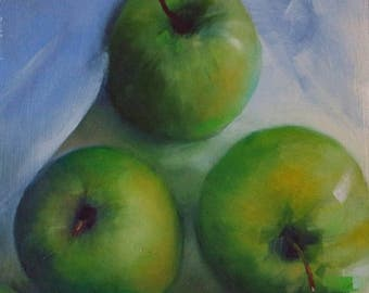 Original oil painting of green apples on wood, small fruit painting