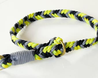 Collar, dog collar, big size, rope, paracord, black and green