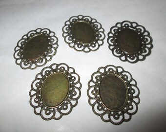 2 support oval connectors bronze 18 x 25 mm cabochon