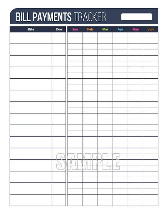 home finance bill organizer template - bill payments tracker plus printable editable personal