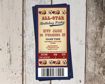 Baseball Ticket Birthday Invitation - All-Star Sports Birthday Party- JPG file - print yourself