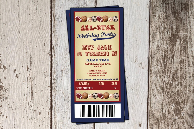 Baseball Ticket Birthday Invitation All-Star Sports Birthday