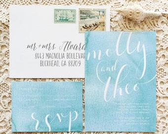 Ocean Abstract Watercolor Wedding Invitations