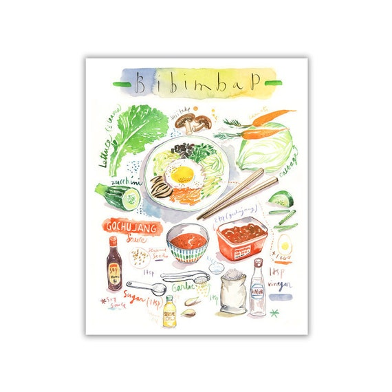 Kitchen Poster Food As Alphabet With Food Name: Korean Food Poster Bibimbap Recipe Art Print Korean Wall