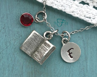Book Charm Necklace, Personalized Necklace, Silver Pewter Book Charm, Custom Necklace, Swarovski Crystal birthstone, monogram