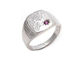 925 Sterling Silver Ruby Mans rings