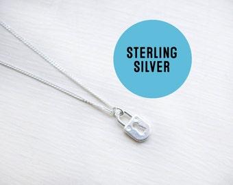 Sterling silver Padlock Necklace- Tiny Key To My Heart -  Sterling Padlock charm necklace - Lovers Necklace.