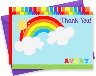 Rainbow Thank You, Rainbow Thank You Card, Rainbow Note Card, Rainbow Stationery, Rainbow Stationary, Thank You Cards, Thank You Notes | 413