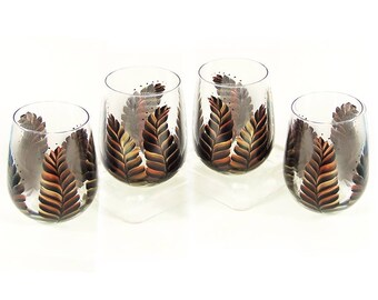 Rustic Feathers Stemless Glasses - Set of 4 READY TO SHIP Black Copper Gold Metallic Feathers Painted Glassware Men's Iced Tea Glasses