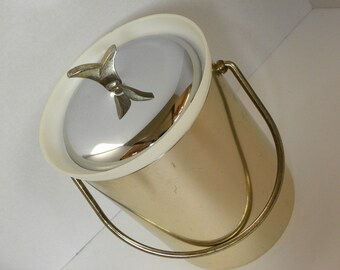 Vintage Ice Bucket --  Retro Mod Gold and Silver Metal Ice Bucket with plastic insert