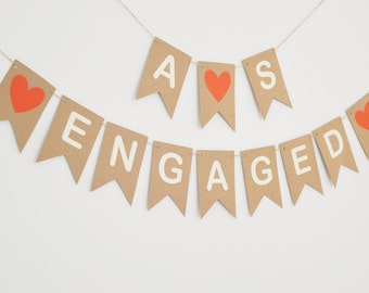 Personalised Engaged Bunting, Custom Name Banner Engagement Party Decoration Banner, Name Initial Bunting, Rustic Kraft Card