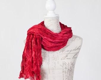 Crimson silk scarf  / boho fashion scarf / red silk scarf for her / red scarf for mom /crimson wrinkle silk scarf / gift for wife