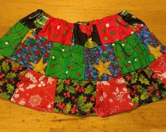 Festive red and green Christmas skirt.