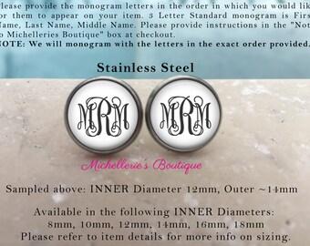 STAINLESS STEEL Monogram Studs,Monogram Jewelry,Monogram Earrings,Personalized,Sensitive Ears,Hypoallergenic Monogrammed Gifts,MB314