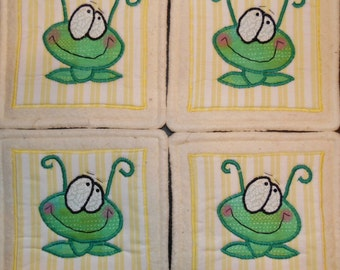 Primitive Whimsical Country Big Eyes SILLY BUGS Coasters Mug Mats Hot Pads Trivets