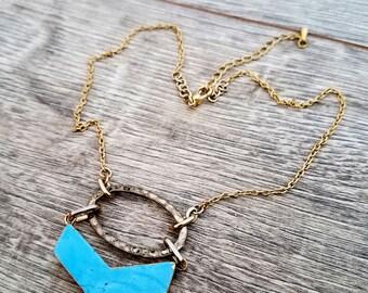 Lowdown- Vintage Element Turquoise Howlite Chevron Hoop Assemblage Statement Necklace