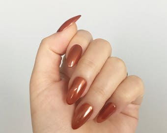 Almond Shaped, Darker Copper, Brown, Hand Painted Nail Tips / Press On / Stick On / Fake Nails - 12 pcs or 20 pcs