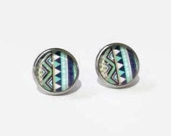 Tribal Print Earrings, Tribal Print studs, hypoallergenic studs, 12mm studs, stainless steel studs,Blue tribal Print earrings,